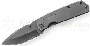Schrade SCH303S Frame Lock Folding 3.7 inch Drop Point Combo Blade, Stainless Steel Handles