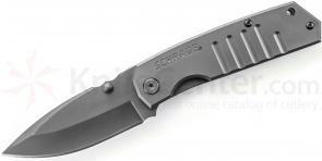 Schrade SCH304 Frame Lock Folding 3.7 inch Plain Drop Point Blade, Grooved Stainless Steel Handles