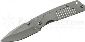 Schrade SCH304M Mini Frame Lock Folding 2.6 inch Plain Drop Point Blade, Grooved Stainless Steel Handles