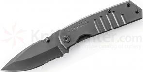Schrade SCH304S Frame Lock Folding 3.7 inch Drop Point Combo Blade, Grooved Stainless Steel Handles