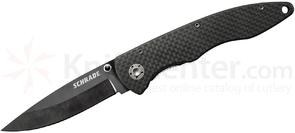 Schrade SCH401L Large Folding Knife 3.2 inch Black Plain Ceramic Blade, Carbon Fiber Handles