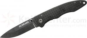 Schrade SCH401 Small Folding 2.7 inch Plain Black Ceramic Blade, Carbon Fiber Handles