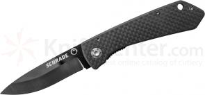 Schrade SCH402 Small Folding 2.7 inch Plain Black Ceramic Blade, Carbon Fiber Handles