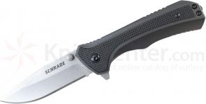Schrade SCH502 Tactical Folding 3.2 inch Stonewashed Plain Blade, Aluminum Handles with Zytel Insert