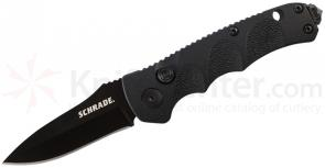 Schrade Mini Extreme Survival AUTO 2.4 inch Black Plain Drop Point Blade, Aluminum Handles