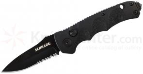 Schrade Mini Extreme Survival AUTO 2.4 inch Black Drop Point Combo Blade, Aluminum Handles