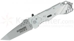 Schrade SCHA2 Nitro Folding Knife Assisted 3.4 inch Bead Blast Plain Tanto Blade, Aluminum Handles