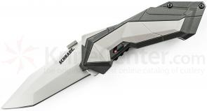 Schrade A3 Assisted Opening 2.9 inch Plain Satin Tanto Blade, Grey Aluminum Handle