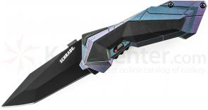 Schrade A3CB Assisted Opening 2.9 inch Plain Black Tanto Blade, Chameleon Aluminum Handle