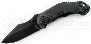 Schrade A4BS Assisted Opening 3.3 inch Black Clip Point Combo Blade, Black Aluminum Handle
