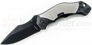 Schrade A4BG Assisted Opening 3.3 inch Plain Black Clip Point Blade, Grey Aluminum Handle