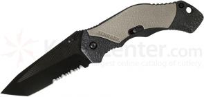 Schrade A4BGTS Assisted Opening 3.3 inch Black Tanto Combo Blade, Grey Aluminum Handle
