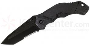 Schrade A4BTS Assisted Opening 3.3 inch Black Tanto Combo Blade, Black Aluminum Handle