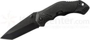 Schrade A4BT Assisted Opening 3.3 inch Plain Black Tanto Blade, Black Aluminum Handle