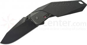 Schrade A5B Assisted Opening 3.3 inch Black Plain Clip Point Blade, Black Aluminum Handle