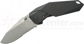 Schrade A5S Assisted Opening 3.3 inch Clip Point Combo Blade, Black Aluminum Handle