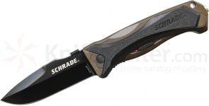 Schrade A6LBR Assisted Opening 3.7 inch Black Plain Drop Point Blade, Brown Aluminum Handle