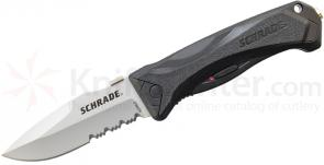 Schrade A6LS Assisted Opening 3.7 inch Drop Point Combo Blade, Black Aluminum Handle