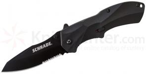 Schrade A7BS Assisted Opening 3.3 inch Black Sheepsfoot Combo Blade, Black Aluminum Handle