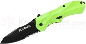 Schrade A7GRS Assisted Opening 3.3 inch Black Sheepsfoot Combo Blade, Green Aluminum Handle