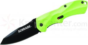 Schrade A7SMGR Small Assisted Opening 2.6 inch Black Plain Sheepsfoot Blade, Green Aluminum Handle