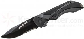 Schrade A8BS 24/7 MAGIC Assisted Opening 3.21 inch Black Drop Point Combo Blade, Black Aluminum Handle with Rubber Inlays