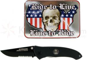 Schrade Bikers of America Folding Knife 4 inch Blade, Collectible Tin, G10 Handles