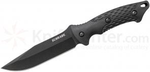 Schrade SCHF30 Clip Point Fixed 4.9 inch Black Blade, TPE Handles, Molded Thermoplastic Sheath