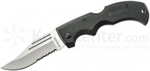Schrade MA1 Old Timer Safe-T-Grip Folding Knife 3-5/8 inch Bead Blast Combo Clip Point Blade, Rubber Handles