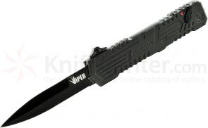 Schrade Extreme Survival Viper 3rd Gen OTF Assisted 3.5 inch Black Double Edge Spear Point Blade, Aluminum Handle