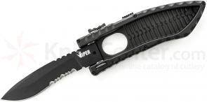 Schrade Viper Side Opening Assist 3.6 inch Black Drop Point Combo Blade, Aluminum Handle
