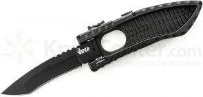 Schrade Viper Side Opening Assist 3.6 inch Plain Black Recurve Tanto Blade, Aluminum Handle