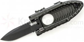 Schrade Small Viper Side Opening Assist 2.5 inch Plain Black Drop Point Blade, Aluminum Handle