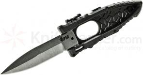 Schrade Extreme Survival Viper Side Opening Assist 3.2 inch Plain Satin Bayonet Blade, Black Aluminum Handle