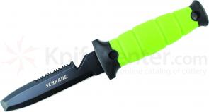 Schrade WR3 Extreme Water Rat Fixed 4.7 inch Black Dive Knife, Green Zytel Handle, Plastic Sheath