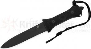 Scorpion Knives Dagger Fighting Knife Diamond Grind, 7 inch Black Plain Double Edge Blade, Cordura Sheath