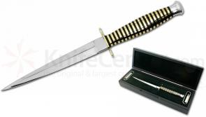 Scorpion Knives Fairbairn-Sykes Polished Commando 6.75 inch Double Edge Blade, WASP Handle, Leather Sheath, Presentation Case
