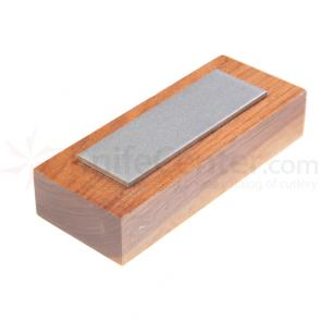 EZE-LAP Medium Stone on a Walnut Pededestal. No Groove - 1 inch x 3 inch Diamond Stone