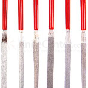 EZE-LAP Fine Grit 6 File Set. Red Handles