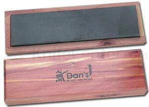Dan's Whetstone Black Hard Arkansas Extra Fine Bench Stone Wooden Box (8 inch x 2 inch x 1/2 inch