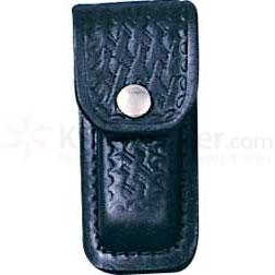 Basketweave Leather Sheath (Black) Fits 3 inch to 3-1/2 inch Folders