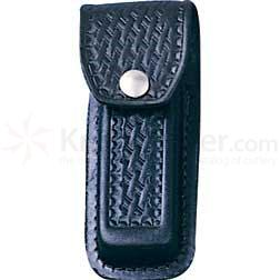 Basketweave Leather Sheath (Black) Fits 4-1/2 inch to 5-1/4 inch Folders