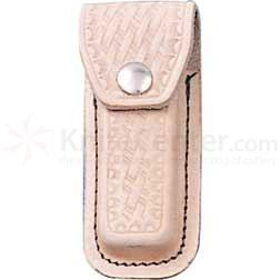 Basketweave Leather Sheath (Natural) Fits 3-1/2 inch to 4 inch Folders
