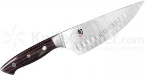 Shun ND0747 Reserve Chef's Knife 6 inch Damascus SG2 Hollow Ground Blade, PakkaWood Handles