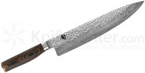 Shun TDM0707 Premier Chef's Knife 10 inch Hammered Blade, PakkaWood Handle