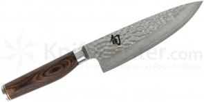 Shun TDM0723 Premier Chef's Knife 6 inch Hammered Blade, PakkaWood Handle