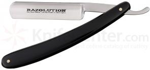 Simba Tec RAZOLUTION Straight Razor, 5/8 inch Carbon Steel, Black Synthetic Handle
