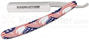 Simba Tec RAZOLUTION Straight Razor, 5/8 inch Carbon Steel, Stars and Stripes Synthetic Handle