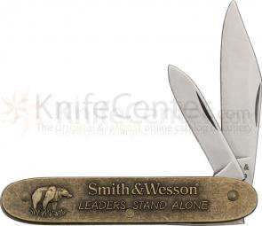 Smith & Wesson Leaders Stand Alone 2000 Two Blade Pocket Knife 3-1/2 inch Closed, Brass Handles with Commemorative Artwork