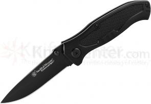 Smith & Wesson Extreme Ops Linerlock 3 inch Plain Black Clip Point Blade, Black Aluminum Handles